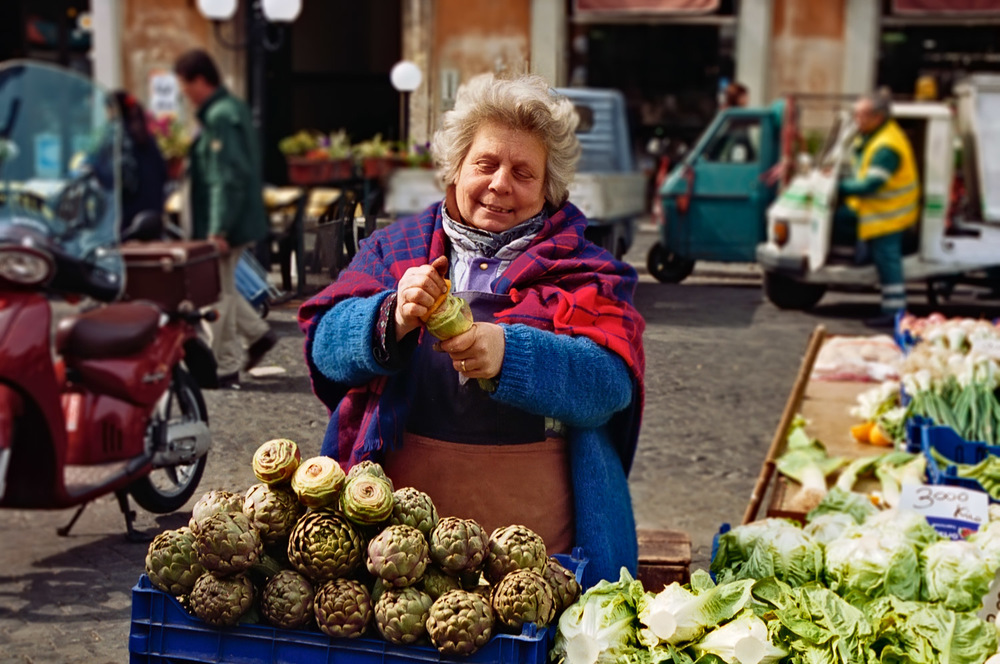 Woman Cleaning Artichokes | Mark Lindsay