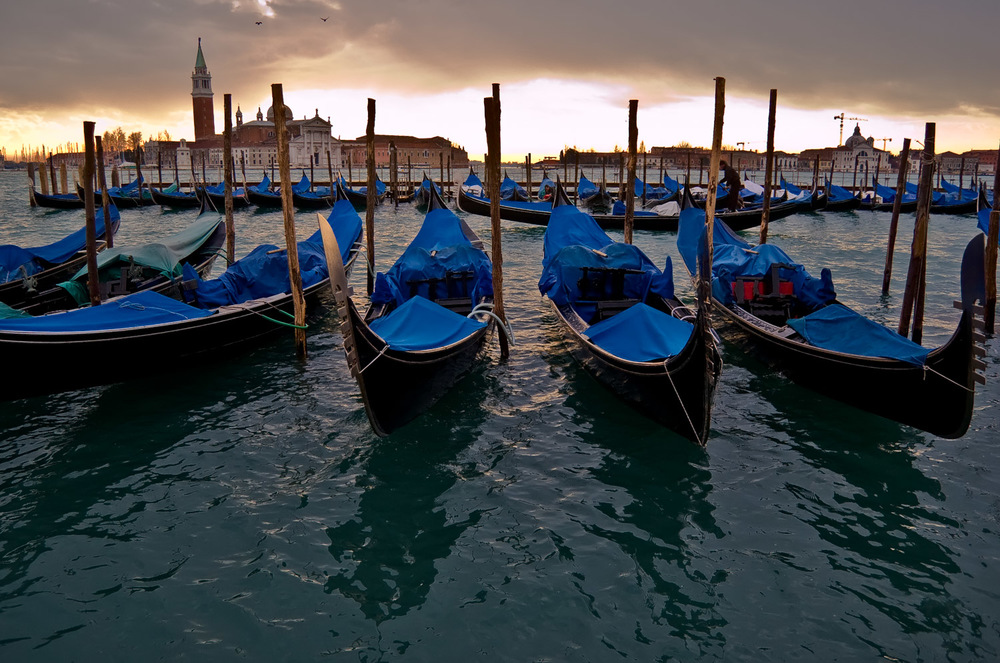 Gondolas at Winter Sunset, Venice | Mark Lindsay