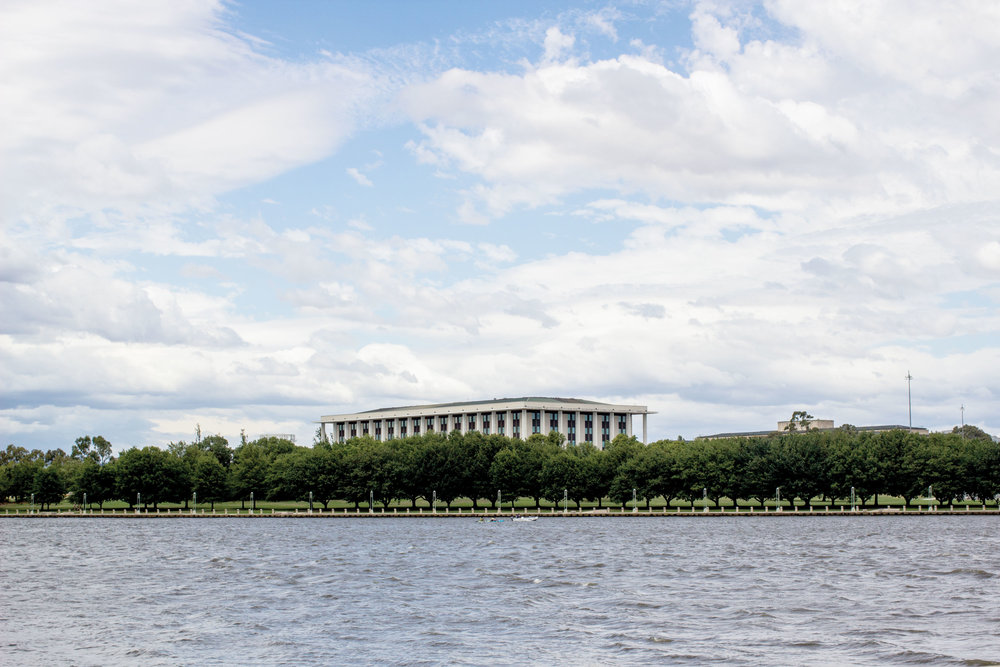 How to Design a Weekend in Canberra    View of the National Library of Australia from across Lake Burley Griffin.