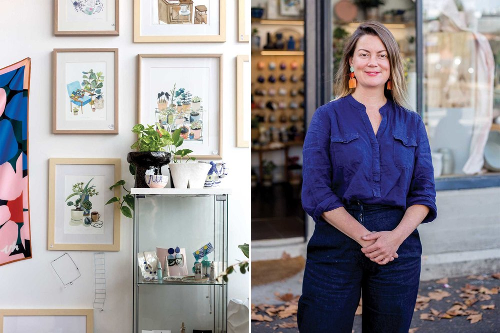 How to Build a Life in Melbourne    Shop interior (left) and Chela Edmunds (right), co-founder of Guild of Objects in North Melbourne.