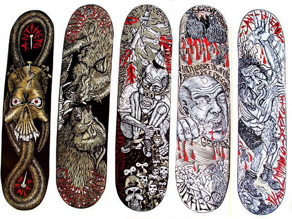 Skateboard graphics by Dennis McNett