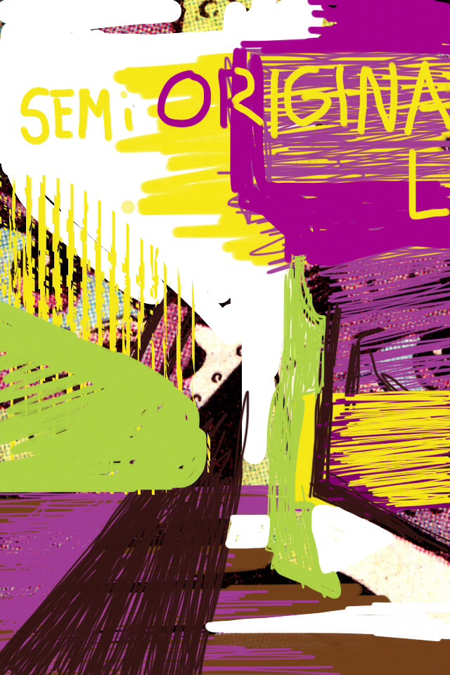 """SEMi ORIGINA L"" by Courtney Stubbert, appropriated tumblr image, iPhone drawing, text, 2014."