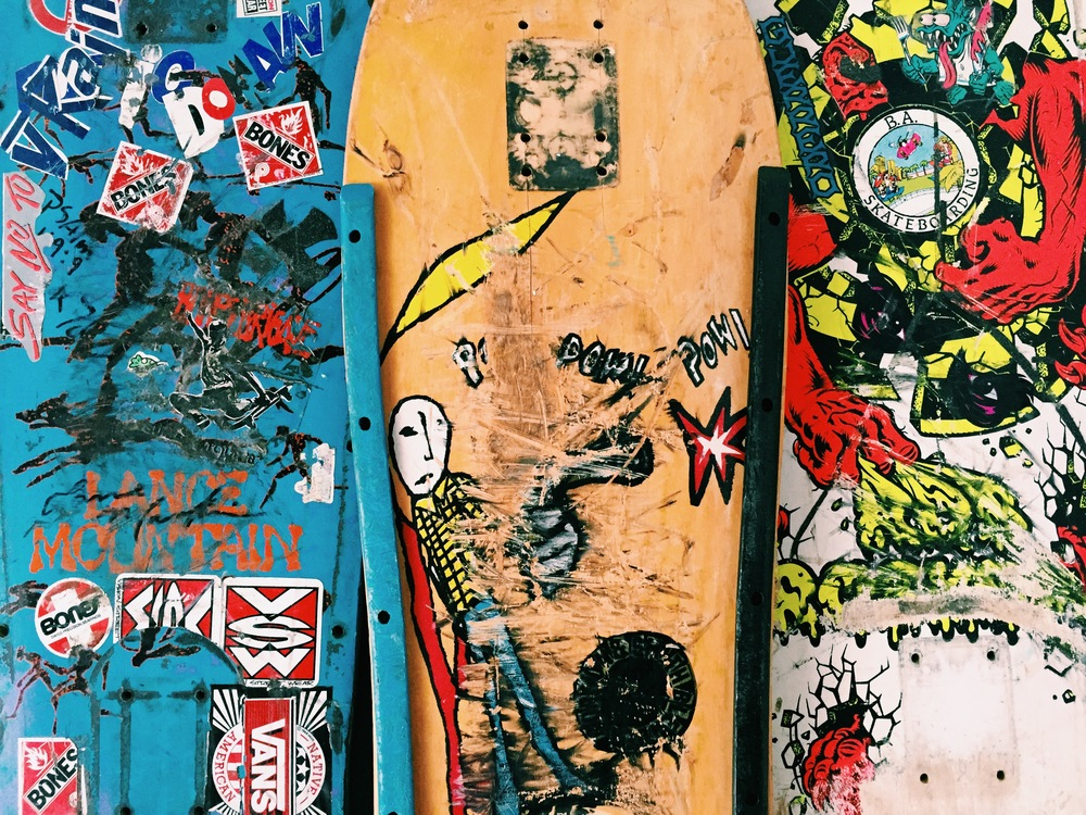 Detail of 3 of my own skateboards from the 80's and 90's.