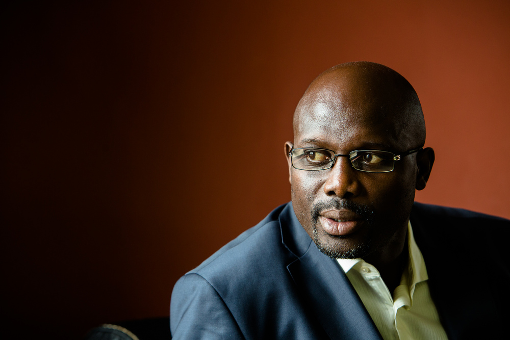Monrovia, Liberia -  June 25, 2013:  George Weah is a Liberian humanitarian and politician, and an ex-footballer. He ran unsuccessfully for president in the 2005 election, losing to Ellen Johnson Sirleaf in the second round of voting. In the 2011 election he ran for vice president on Winston Tubman's ticket. What lies next for the Liberian footballer turned politician and Liberian Peace Ambassador?