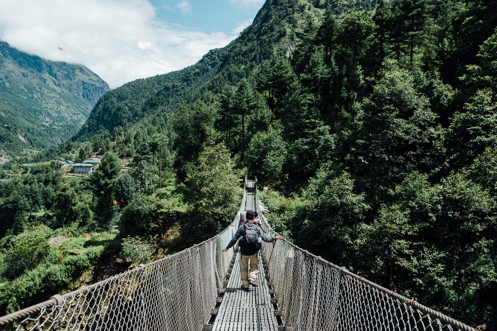 One of the many suspension bridges around the Khumbu area.