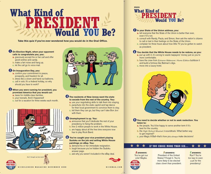 Nickelodeon Magazine_President Personality Quiz.jpg