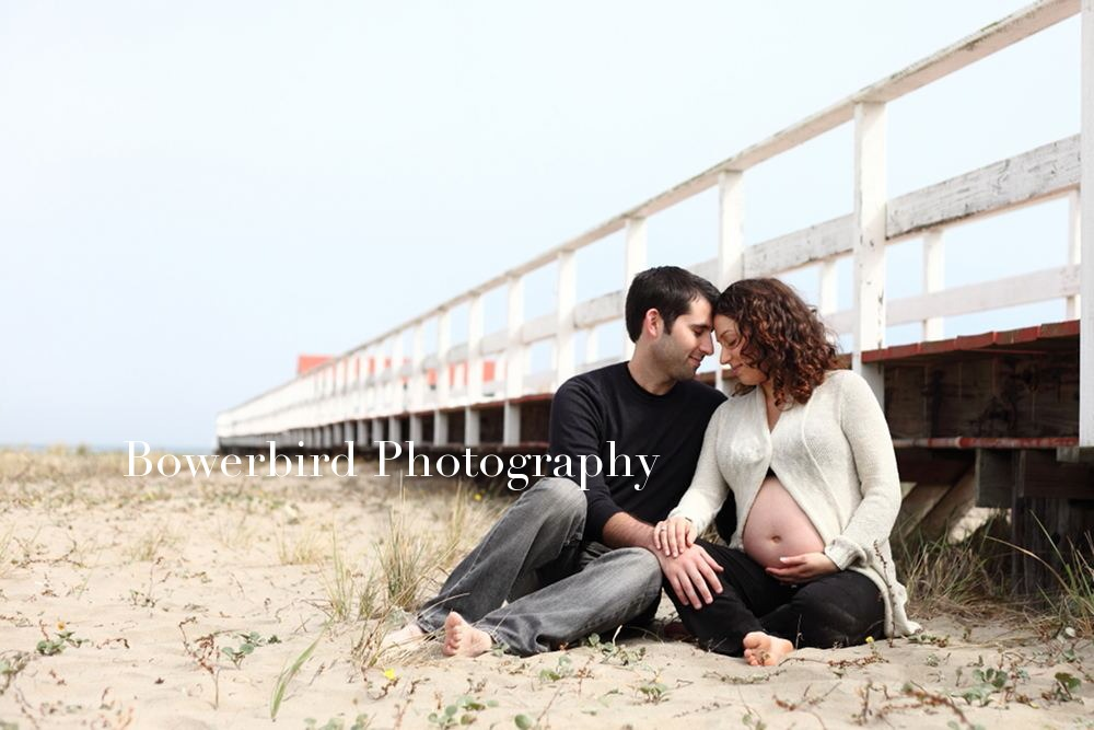 Expectant parents at the pier.  © Bowerbird Photography 2012; Maternity Photography at Crissy Field, San Francisco.