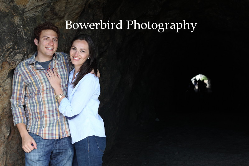 Emerging from the cave at the Sutro Baths.  © Bowerbird Photography 2012; Engagement Photography at Lands End, San Francisco.