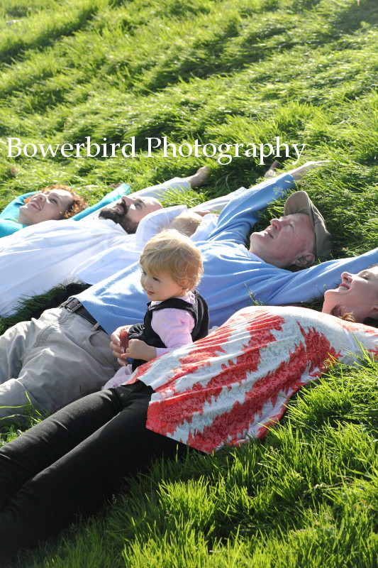 Relaxing in the grass. © Bowerbird Photography 2012; Family Photography at Crissy Field, San Francisco.