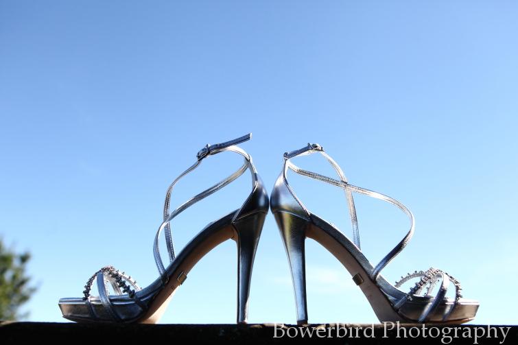 Amanda's gorgeousBadgley Mischka wedding shoes.© Bowerbird Photography 2012; Wedding Photography at Fogarty Vineyards, Woodside.