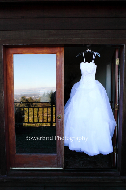 Amanda's stunning wedding dress.© Bowerbird Photography 2012; Wedding Photography at Fogarty Vineyards, Woodside.