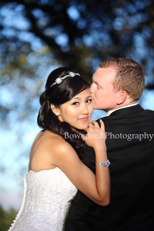 A sweet kiss of wedded bliss. ©  Bowerbird Photography 2012; Wedding Photography at Fogarty Vineyards, Woodside.