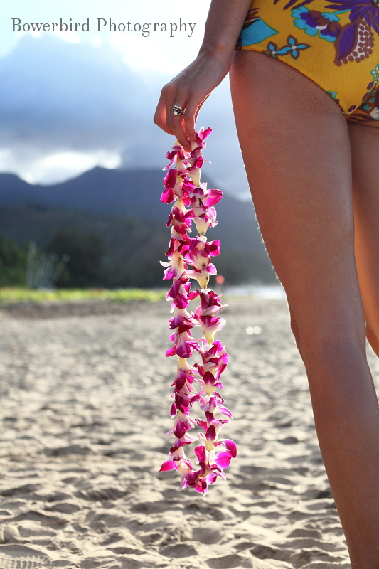 Ariel holds a lei she is about to give me. © Bowerbird Photography 2012; Kauai, Hawaii.