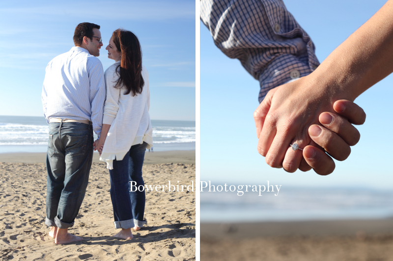 And a new ring on Gina's hand! © Bowerbird Photography 2012; Family Photography at Ocean Beach, San Francisco.