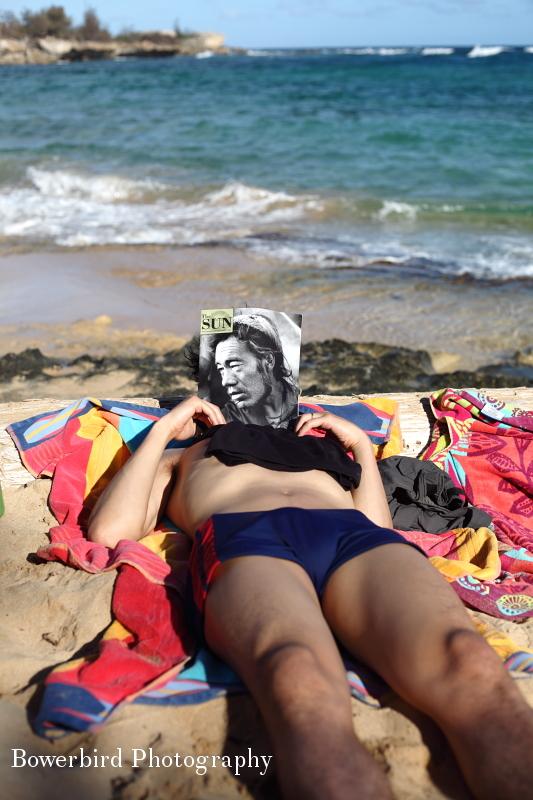 "Sam ""reading"" Sun Magazine.© Bowerbird Photography 2012; Travel Photography Kauai, Hawaii."
