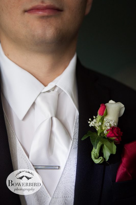 Andrew wears a special mother of pearl tie clasp in honor of his grandmother. © Bowerbird Photography 2012; Wedding Photography in Dublin, CA.