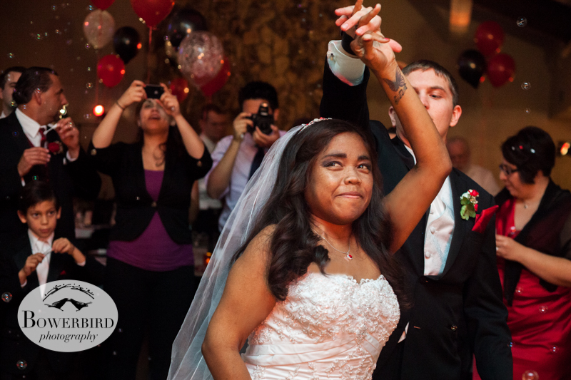 First dance with bubbles -- such a sweet idea. © Bowerbird Photography 2012; Wedding Photography in Dublin, CA.