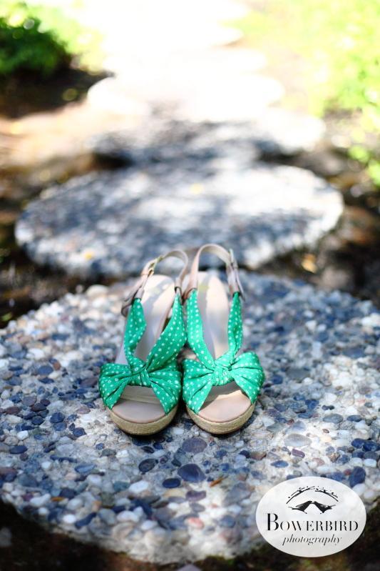 Beautiful polka dot green wedding shoes. © Bowerbird Photography 2012; Wedding Photography at Larkspur, Marin.