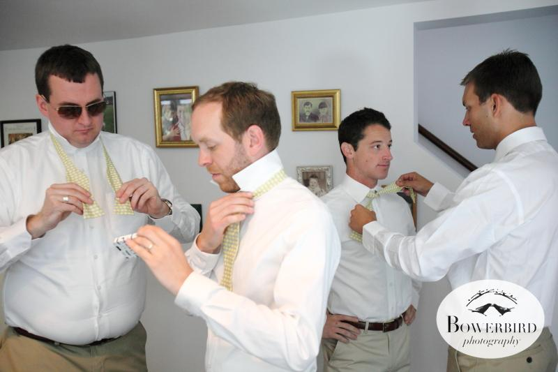 The gents got custom bow ties from the groom. Now they just have to figure out how to tie them. © Bowerbird Photography 2012; Wedding Photography at Larkspur, Marin.