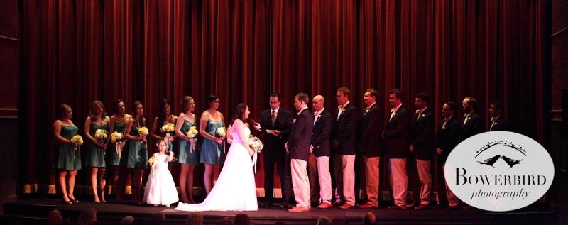 The wedding party lined the Lark Theater stage for the main feature, the wedding ceremony. © Bowerbird Photography 2012; Wedding Photography at Larkspur, Marin.