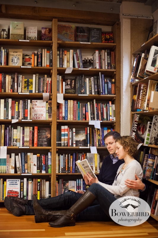 A stop at the Elliot Bay Books. © Bowerbird Photography 2012; Couple's Photography in Seattle.