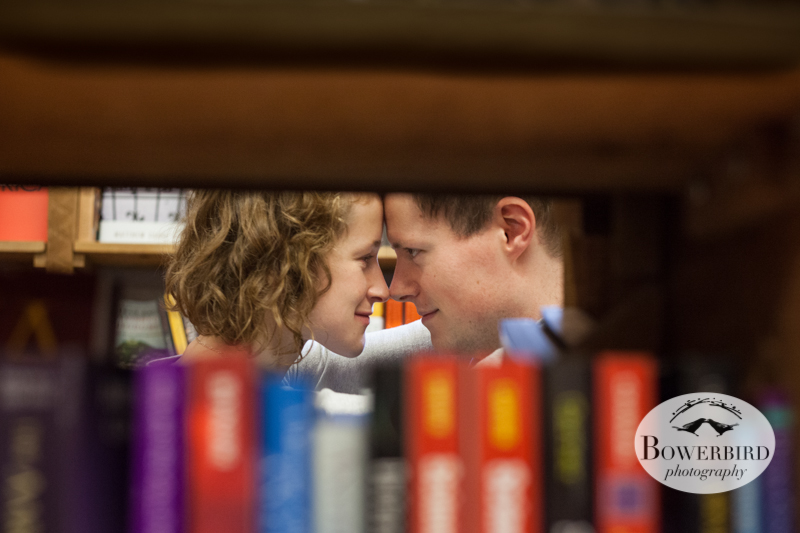 It's getting steamy in the stacks! © Bowerbird Photography 2012; Couple's Photography in Seattle.