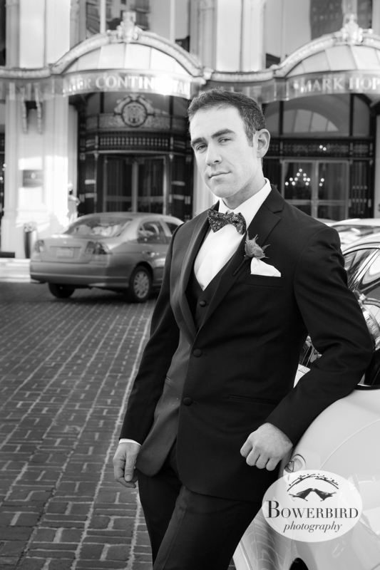The groom, outside the Mark Hopkins Hotel, moments before the wedding ceremony. © Bowerbird Photography 2013; Mark Hopkins Hotel, San Francisco.