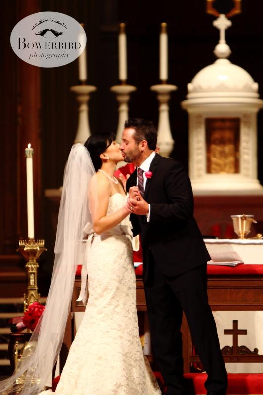 And the kiss! © Bowerbird Photography 2013; St. Ignatius Church Wedding, San Francisco.