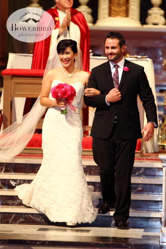 They are married!! © Bowerbird Photography 2013; St. Ignatius Church Wedding, San Francisco.