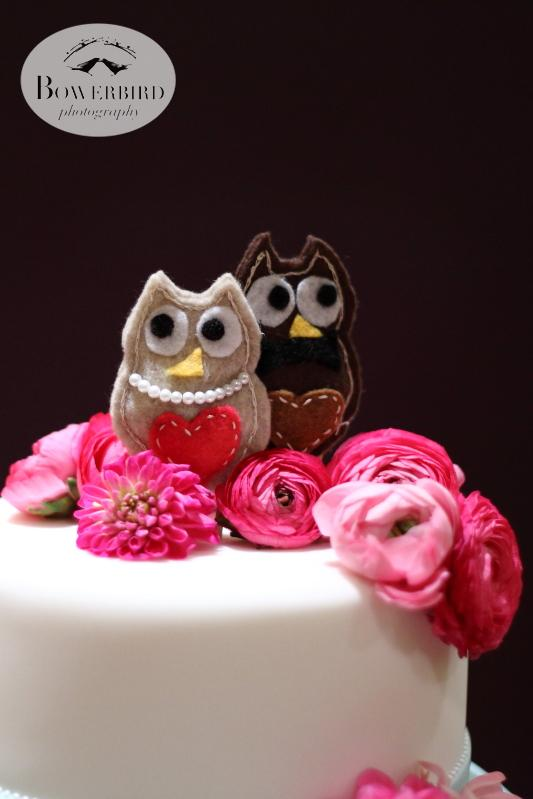 Cute owl cake toppers that the bride made herself :) © Bowerbird Photography 2013; Marin Art and Garden Center Wedding, Ross, CA.