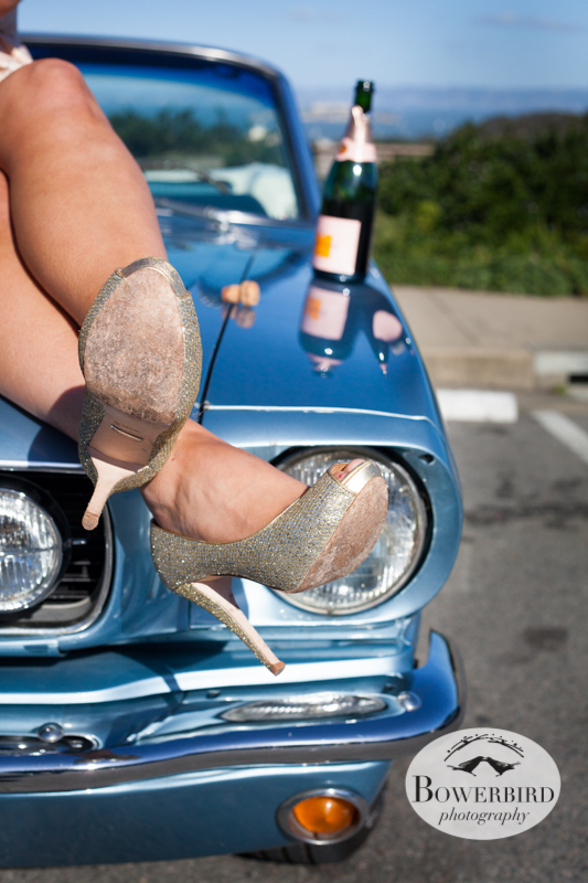 Seriously hot legs and a bottle of pink Veuve Clicquot champagne! © Bowerbird Photography 2013; Engagement Photography with vintage 1966 Mustang convertible, San Francisco.