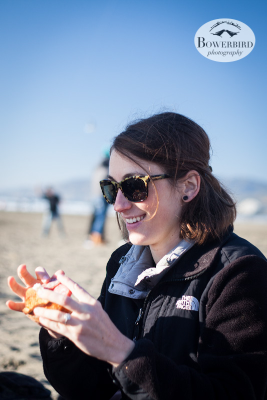 Maya enjoying lunch. © Bowerbird Photography 2013, Sam's birthday picnic at Ocean Beach.