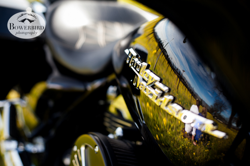 Julia + Ian's reflection in the Harley. ©  Bowerbird Photography 2013; Engagement Photography in Napa Valley, CA.