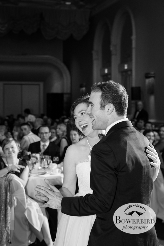 Anastasia + Matt share a first dance. © Bowerbird Photography 2013; Mark Hopkins Hotel Wedding, San Francisco.