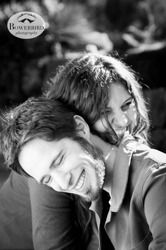 Snuggles! © Bowerbird Photography 2013; Engagement Photography in Golden Gate Park, Botanical Gardens, San Francisco.