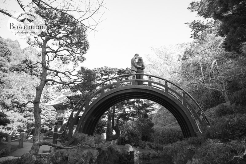 On the bridge. © Bowerbird Photography 2013; Engagement Photography in Golden Gate Park, Japanese Tea Garden, San Francisco.