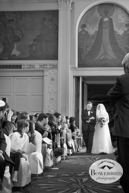 Dad escorts his daughter down the aisle in a lovely, and touching moment.