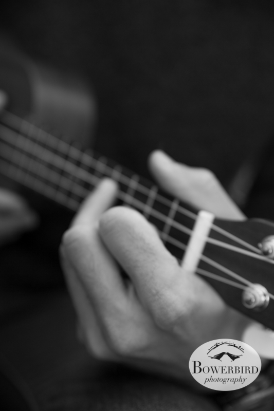 Tommy playing ukulele. © Bowerbird Photography 2013; Engagement Photo in Tilden Park, Berkeley.