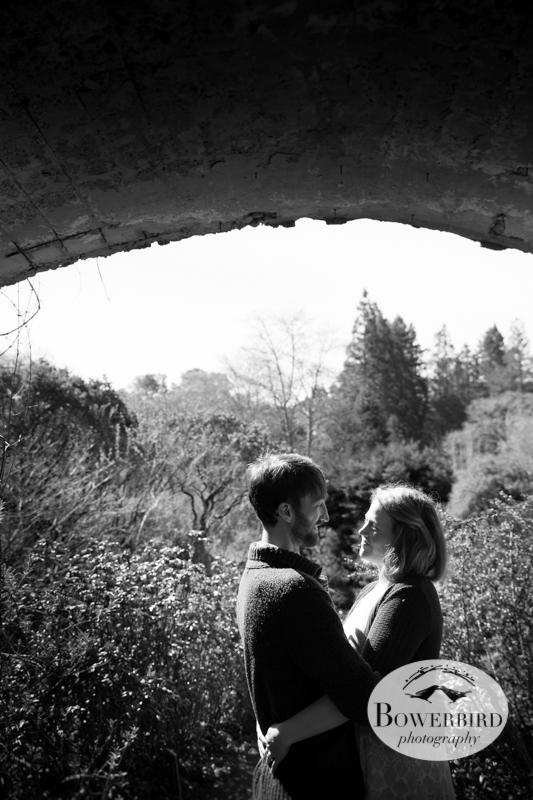 Under the bridge at the Botanical Gardens. © Bowerbird Photography 2013; Engagement Photo in Tilden Park, Berkeley.