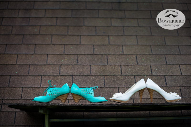 The brides' wedding shoes, on the roof of the barn. © Bowerbird Photography 2013; Lesbian wedding in Bastrop, Texas at Cedar Bend.