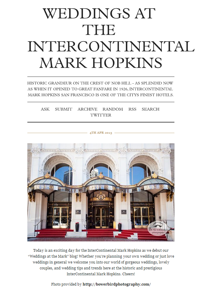 Bowerbird Photography Featured on Intercontinental Mark Hopkins Blog