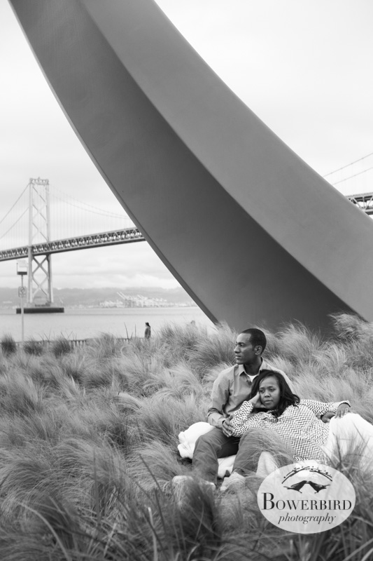 Relaxing in the grass. © Bowerbird Photography 2013; San Francisco, Bow and Arrow, Bay Bridge Engagement Photo.