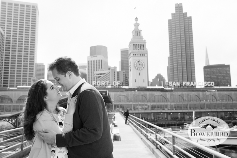 Lovers by the Bay :) © Bowerbird Photography 2013; San Francisco Engagement Photo.