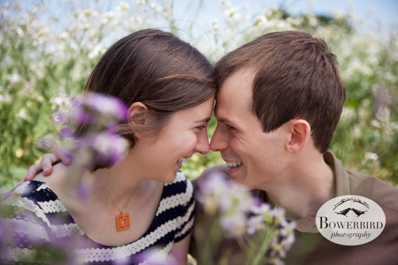 In the wild flowers. © Bowerbird Photography 2013; San Francisco Engagement Photo.