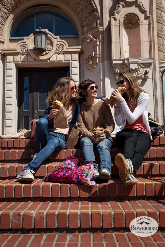 With Sunisa and Cailey on the steps of Mission High. © Bowerbird Photography 2013.