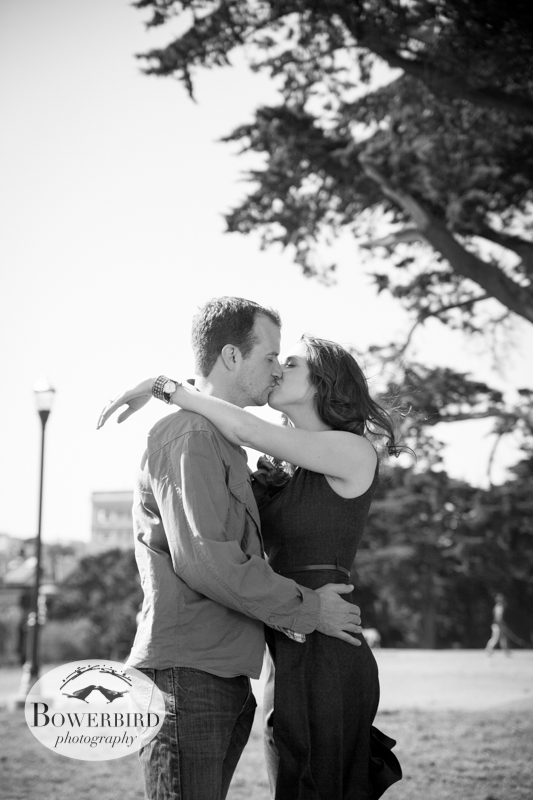 A kiss! © Bowerbird Photography 2013; Alamo Square, San Francisco Engagement Photo.