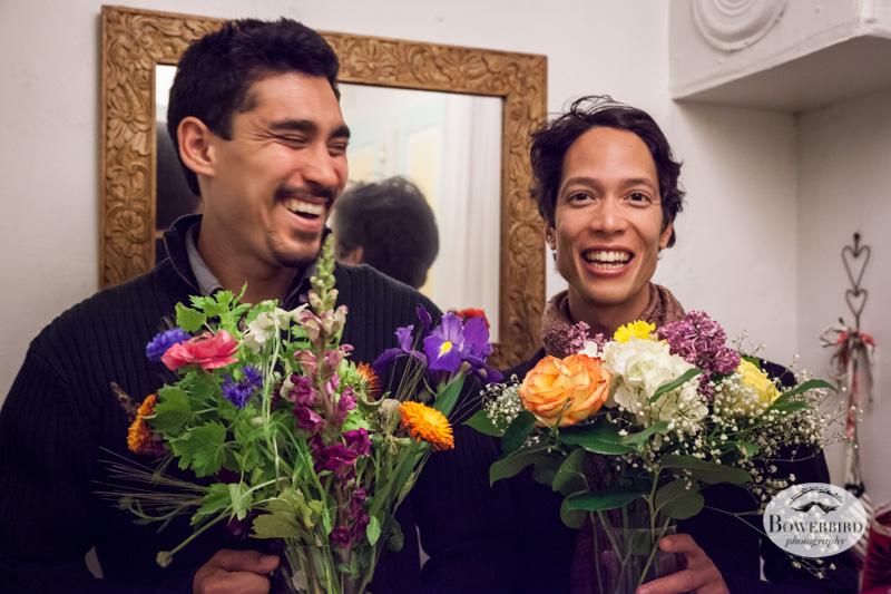 Matt + Sam with bday flowers! © Bowerbird Photography 2013.