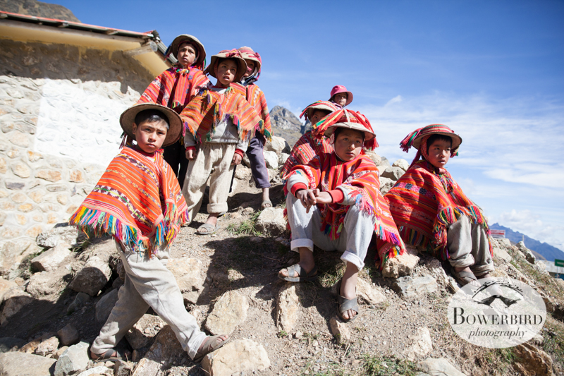 Children wait on a small hill next to their school. © Bowerbird Photography 2013, Sacred Valley Health and Suny Brockport in Yanamayo, Peru.