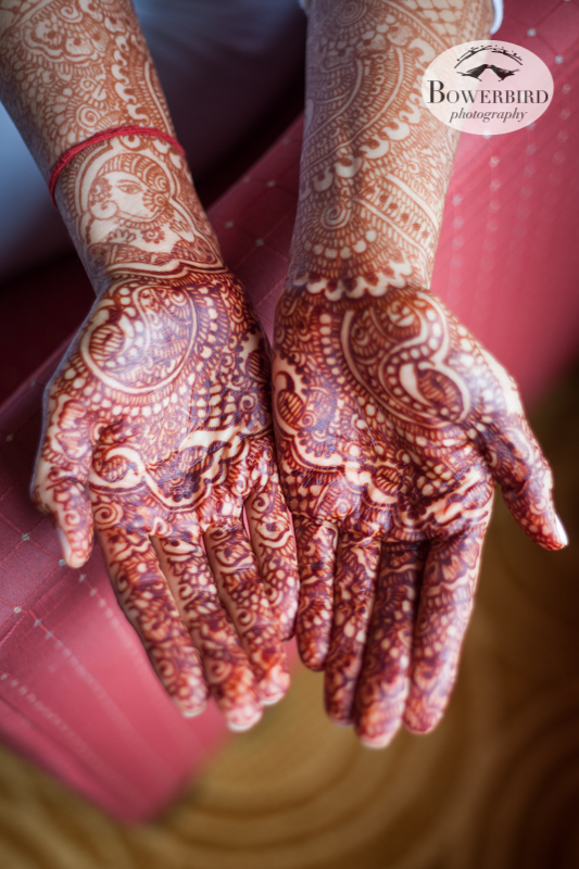 The bride's hands serve as a canvas for intricate mehndi designs. Notice Ganesha on her right wrist! © Bowerbird Photography 2013, South Asian Wedding at the San Francisco JW Marriott and Winery SF on Treasure Island