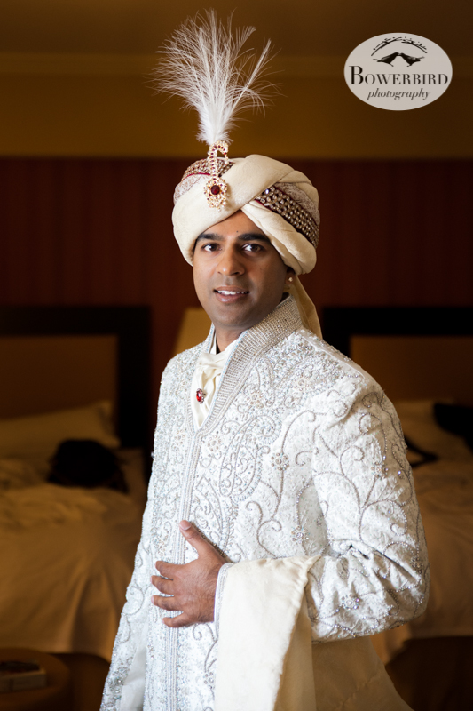 The handsome groom, all dressed, and ready to see his bride!© Bowerbird Photography 2013, South Asian Wedding at the San Francisco JW Marriott and Winery SF on Treasure Island